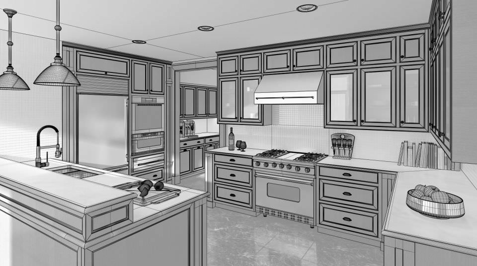 Awesome Modern Brown Wood Kitchen 3d Model Max 1 ...