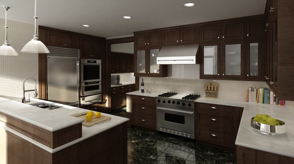 Kitchen 3D Model Glamorous 3D Model Modern Brown Wood Kitchen  Cgtrader Design Inspiration