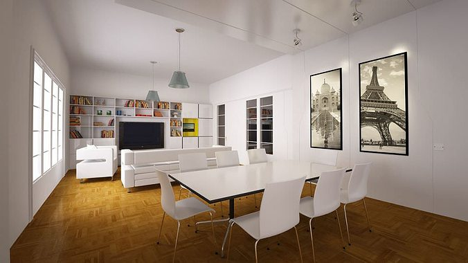 White living room with dining table 3d cgtrader for White living room table