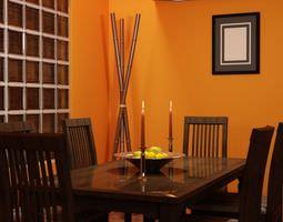 Orange Dining Room 3D Model