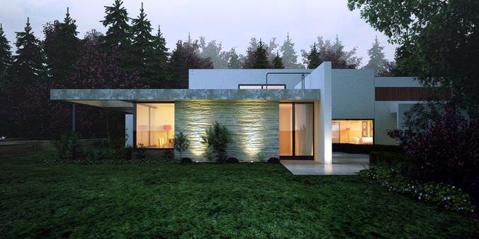 Modern House In A Forest 3d Model