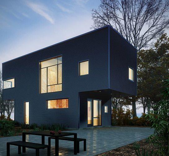 modern house with yard 3d model max fbx 3dm 1