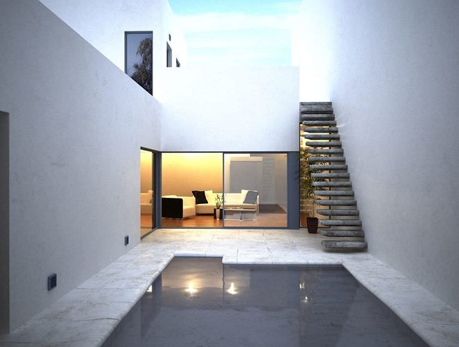 Modern swimming pool with living room and stairs 3d model c4d for Living room cinema 4d