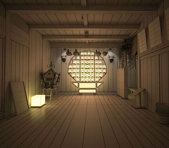Empty Room: Chinese Style Empty Room 3D Model