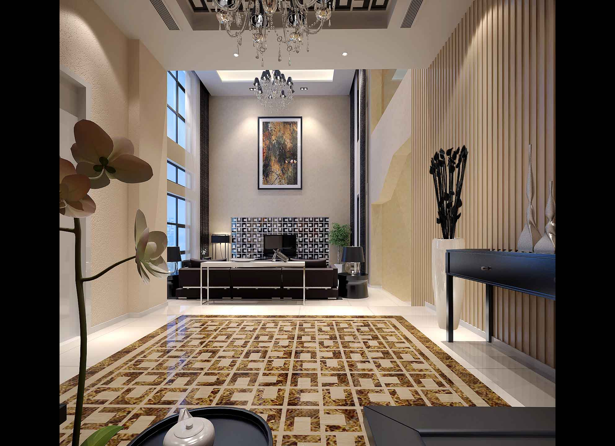 Modern living and dining room with leather 3d model for Room 3d model