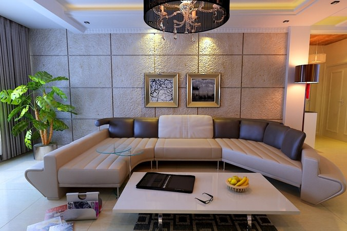 Modern fully furnished living room with plants and for Well decorated living rooms