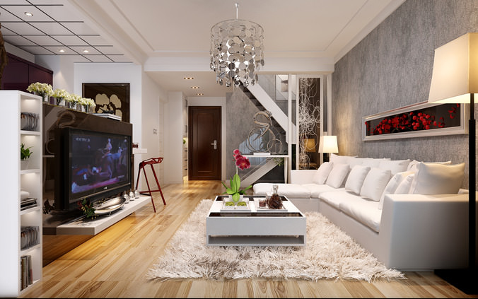 Spacious living room with tv white leather furniture red for Living room with staircase decoration