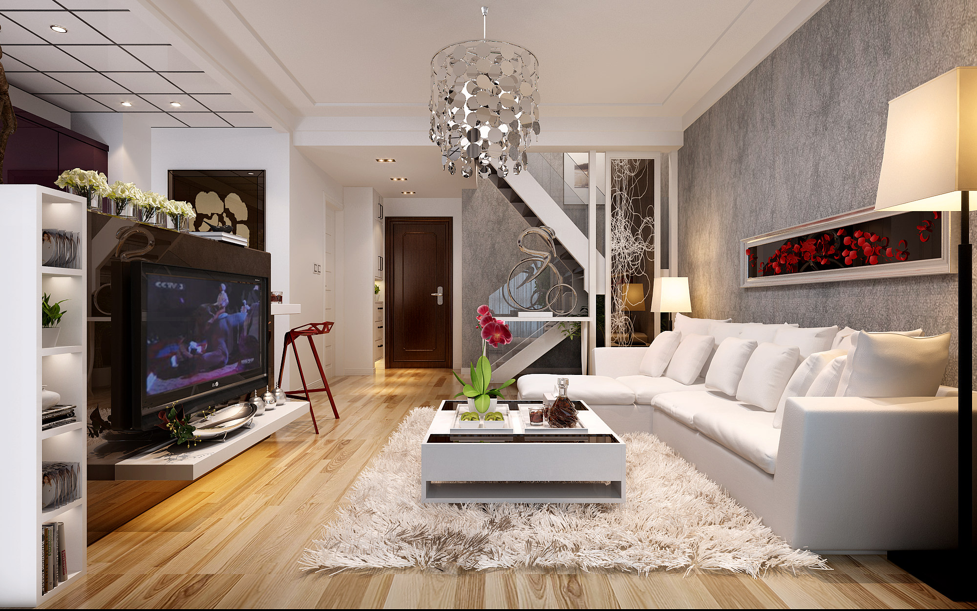 Spacious living room with tv white leather furniture red for Nigerian living room designs