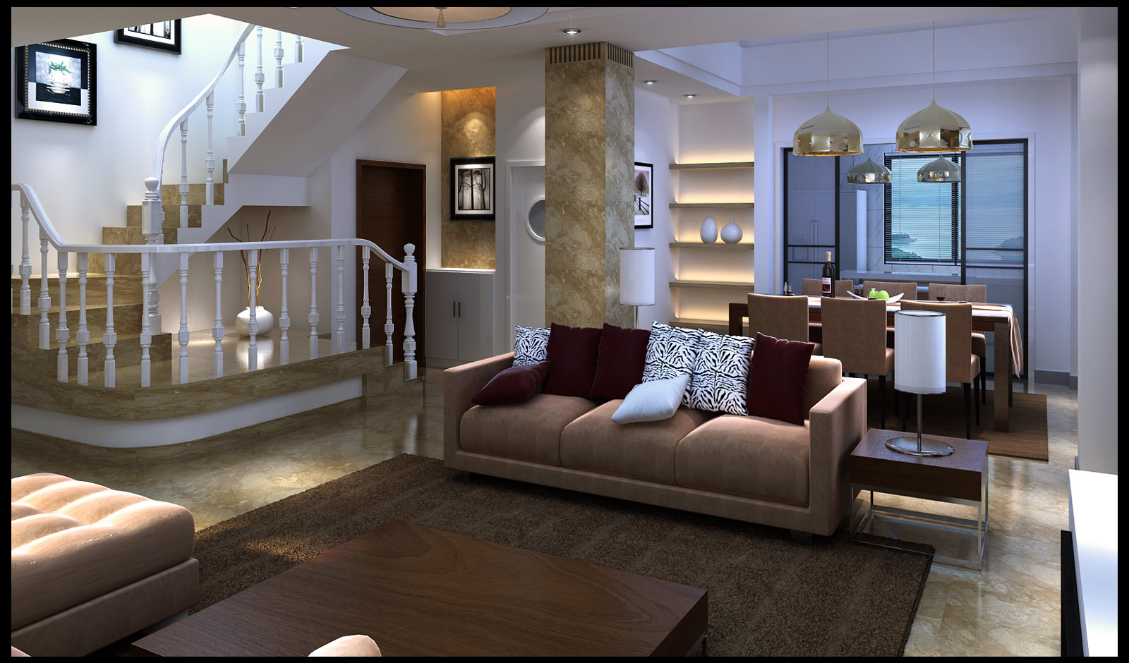 Great 3d Model Max; Modern Fully Furnished Living Room With Marble Floor And  Deco... 3d Model Max Part 20