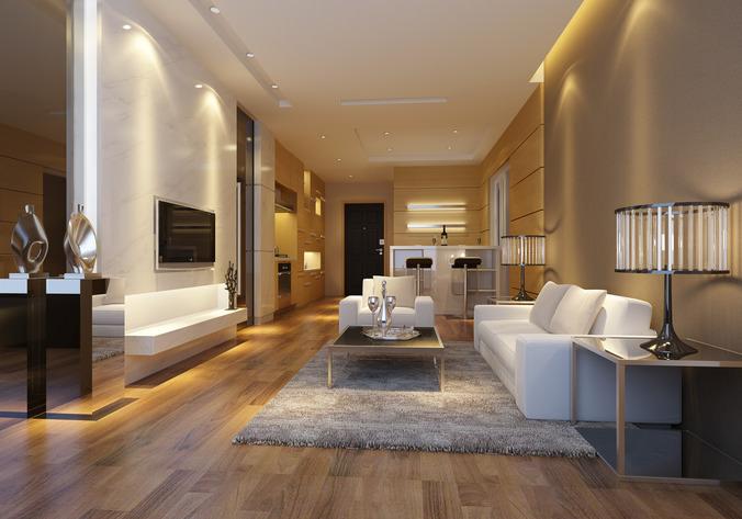 Modern living room with wooden floor fully furnished 3d for Model interior design living room