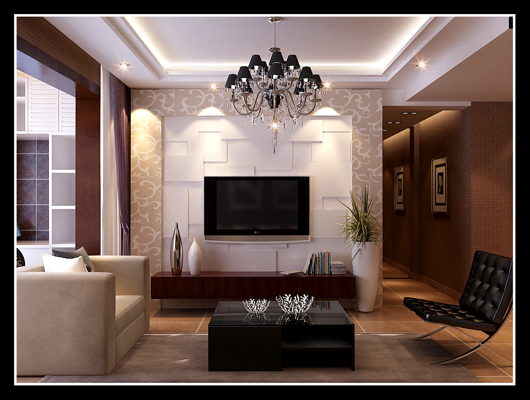Modern living room with leather furniture 3d model for New model living room furniture