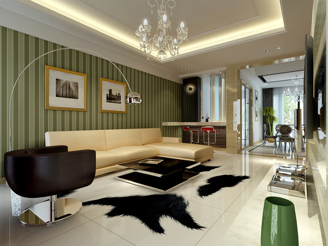 Modern Living Room With Marble Floor Fully Furnished With