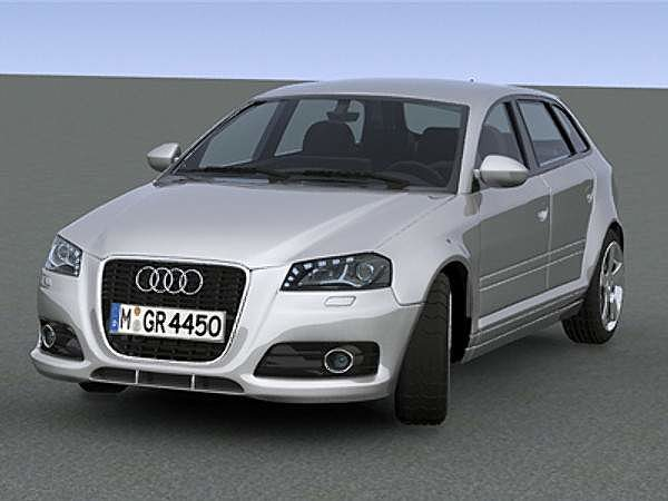 audi a3 sportback 2009 3d model max obj 3ds ma mb. Black Bedroom Furniture Sets. Home Design Ideas
