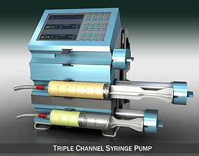 medicine Triple Channel Syringe Pump 3D