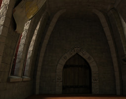medieval hall with arballista and a tower bridge 3d model max unitypackage