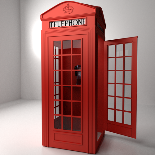 Red Phone Booth 3d Model 3ds Fbx Blend Dae Cgtrader Com