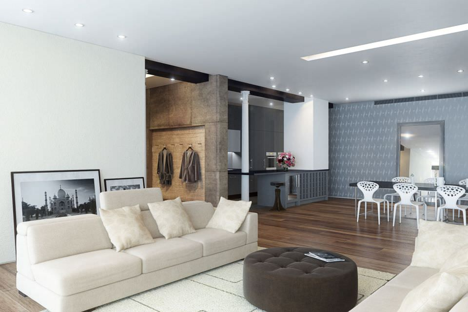 White modern studio apartment 3d model for The model apartment