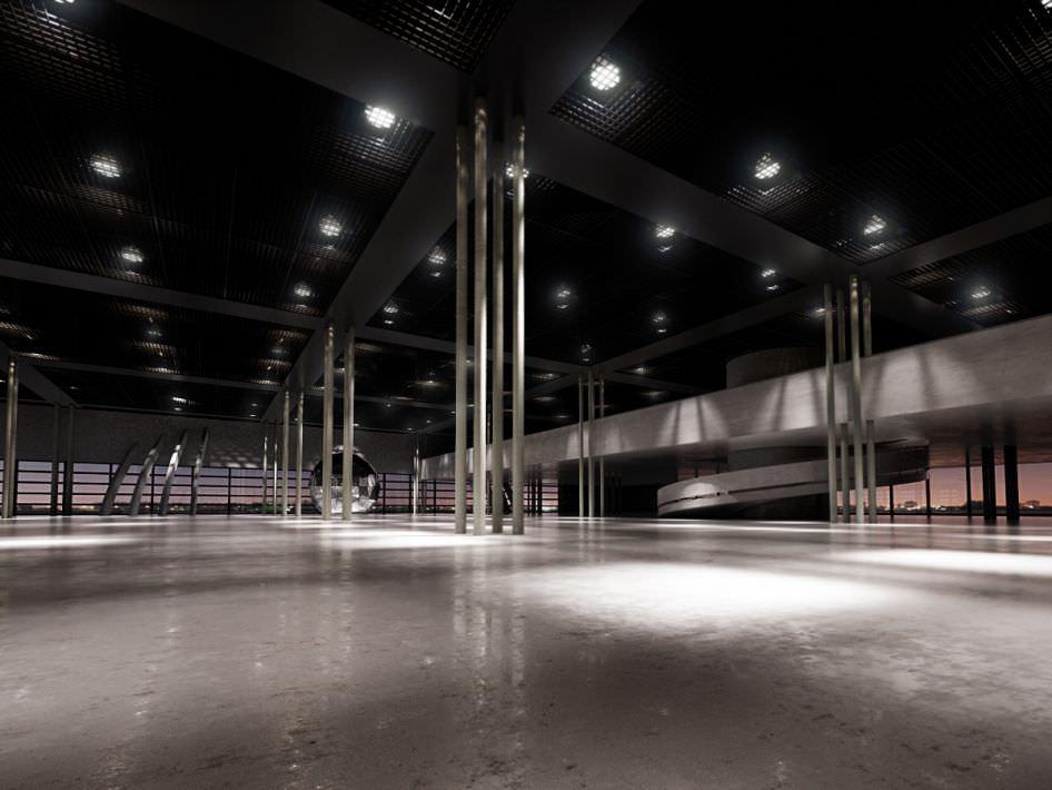 Vast semi open space arena 3d model for Semi open spaces