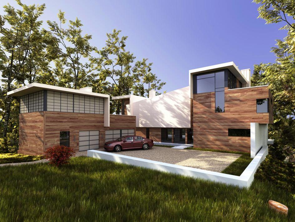 Wooden modern villa 3d model for Model villa moderne