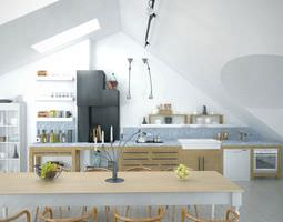 3d kitchen and studio modern  interior design