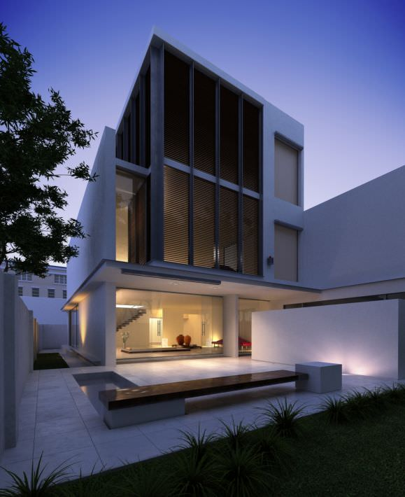 Modern three floor house 3d model for Modern house 3d tour