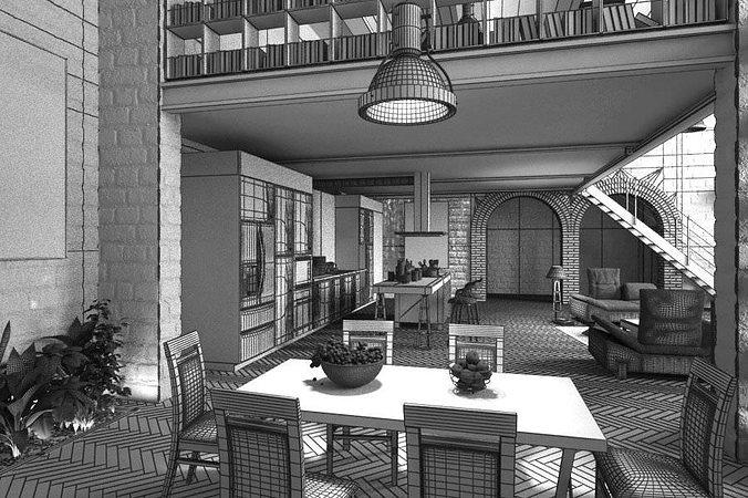 Attractive ... Stone Wall Interior Design 3d Model Obj Mtl 5 ...
