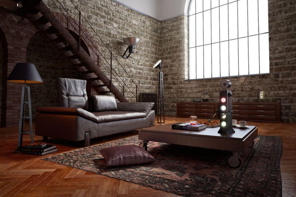 ... stone wall interior design 3d model obj 4 ...