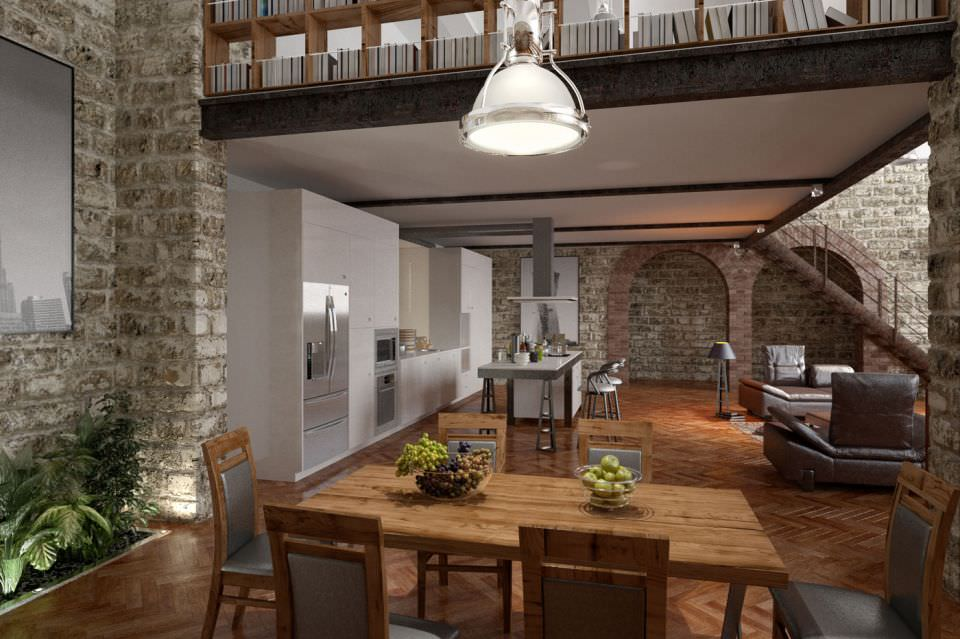 Stone Wall Interior Design 3d Model
