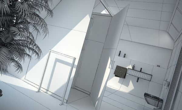 Modern bathroom interior design 3d model for Bathroom design 3d model