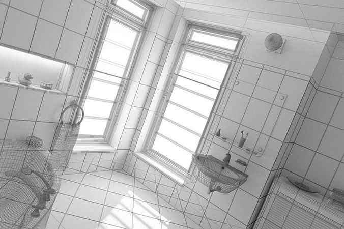 Bathroom Design 3d Model : Bathroom interior design d model cgtrader