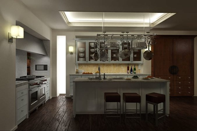 3D model Kitchen With Wooden Flooring | CGTrader