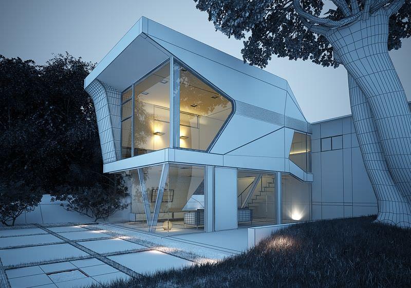White Rendered House Exterior