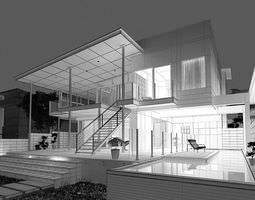 Modern House With Terrace 3D