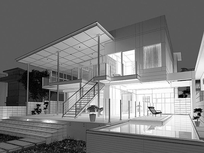 modern house with terrace 3d model max 1