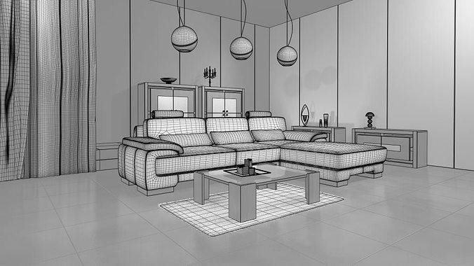 3d living room with modern interior design cgtrader for Model living room design
