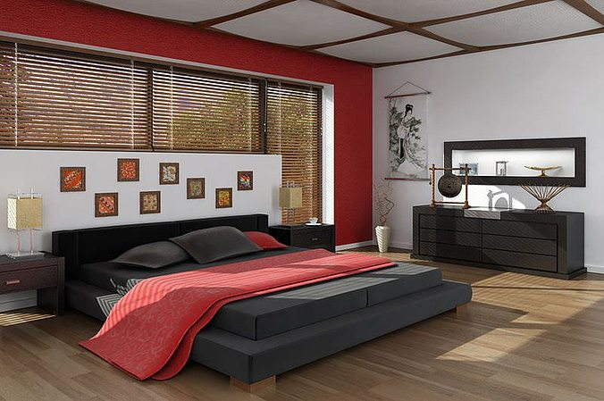 Model Bedroom Amusing 3D Asian Interior Design Bedroom  Cgtrader 2017
