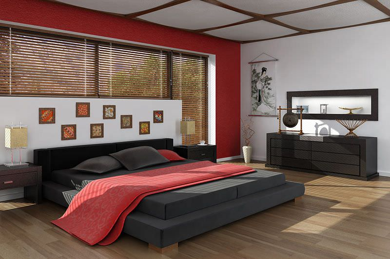 Asian interior design bedroom 3d model for Bedroom designs 3d model