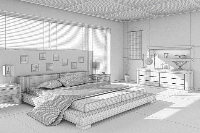 Asian interior design bedroom 3d model max for Model bedroom interior design