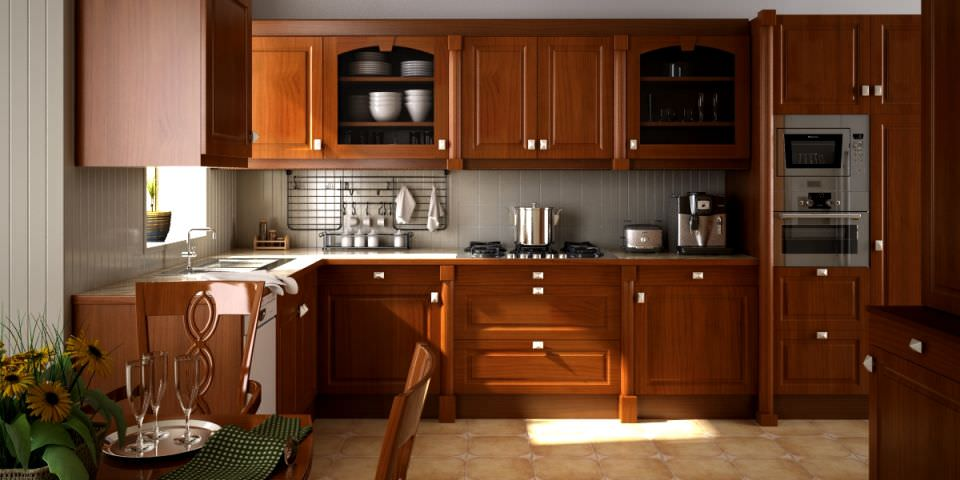 Scene of kitchen fully furnished and decor 3d model for House kitchen model