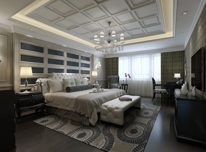 Luxurious Bedroom With White Bed3D model