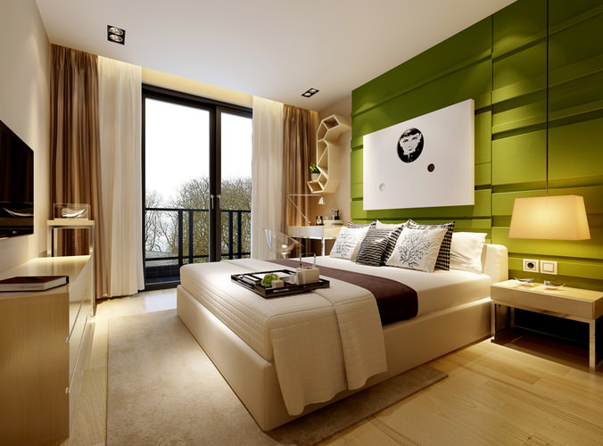 Modern bedroom with green wall 3d model max for Bedroom designs 3d model