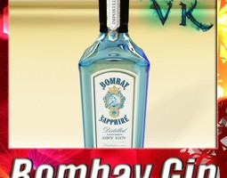 3d photorealistic bombay sapphire gin bottle