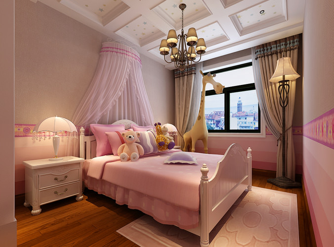 Pink girls bedroom 3d model max for Model bedroom interior design
