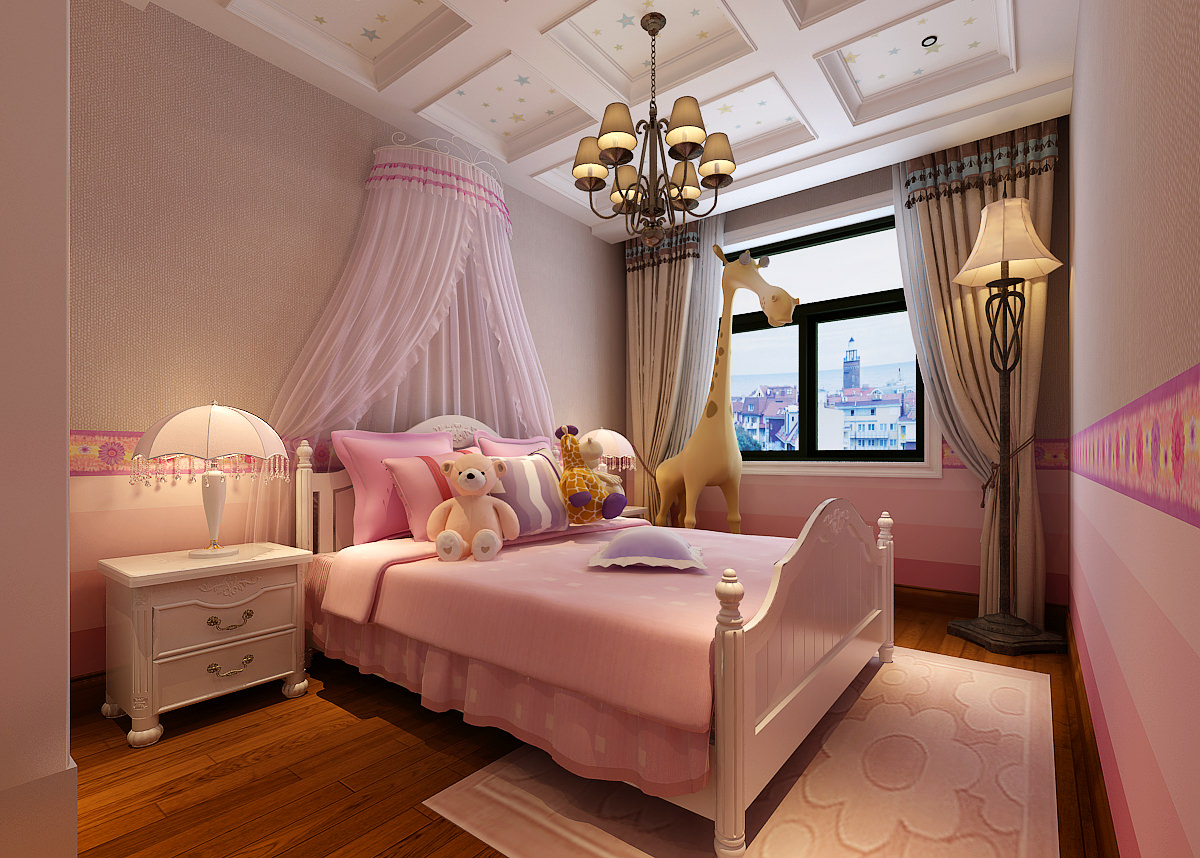 Pink girls bedroom 3d model max for Bedroom designs 3d model