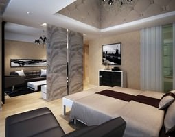 3D model Modern Bed Room With Living Room