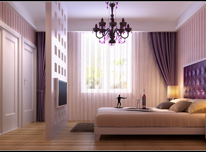 modern bedroom  with wooden floor fully furnished 3d model max 1