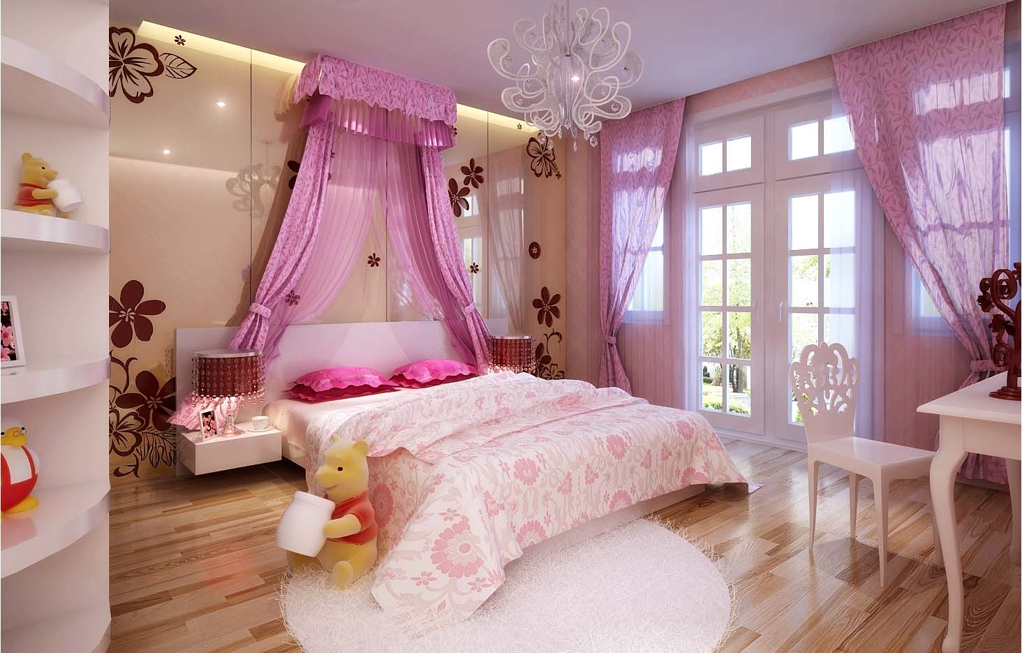 luxurious girls bedroom with big bed full 3d model max cgtrader