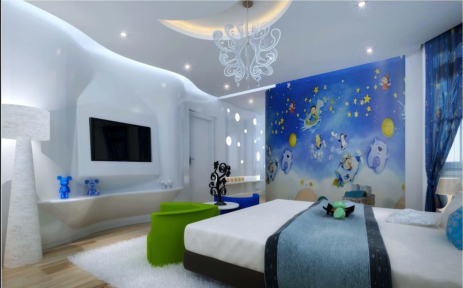modern kids bedroom with wooden floor ful 3d model max cgtrader
