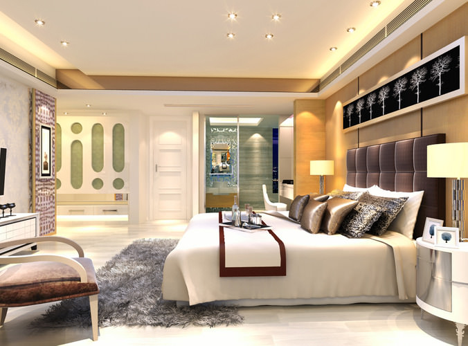 Modern Bedroom With Marble Floor Fully Furnished 3d Model Max