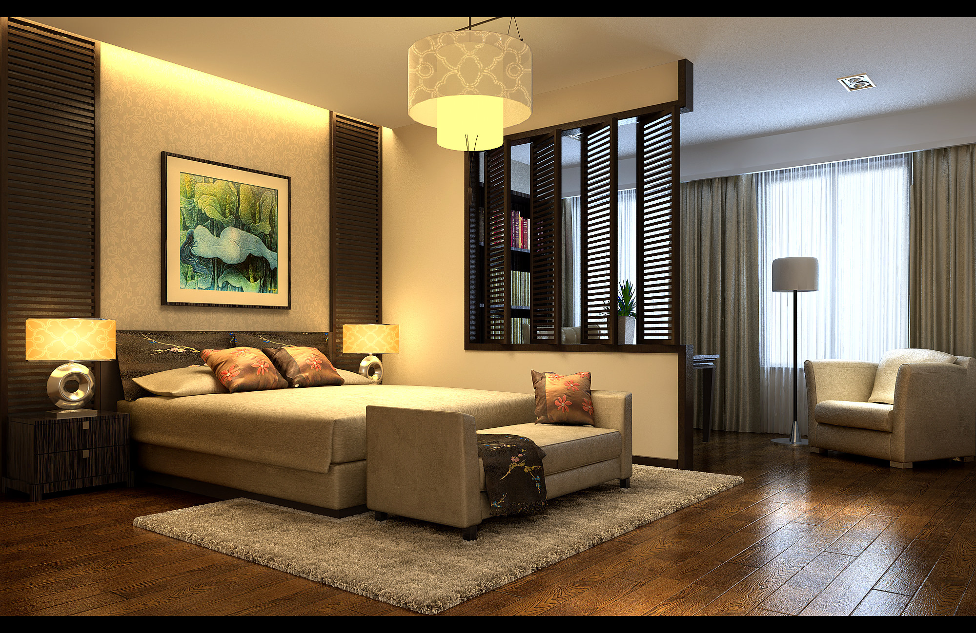 Modern bedroom with wooden floor fully furnished 3d model for Bedroom designs 3d model